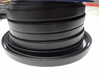 10ft 10mm Black Flat Leather Cord,