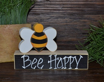 Bee Happy Block Set Personalized Wood Blocks Love Home Decor Primitive Gift Holiday