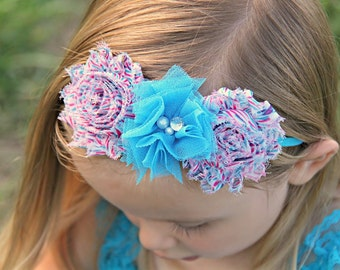 Turquoise Pink Headband, Striped Shabby Headband, Pink Turquiose Headband, Turquoise Baby Headband, Newborn Photo Prop, Baby Shower Gift