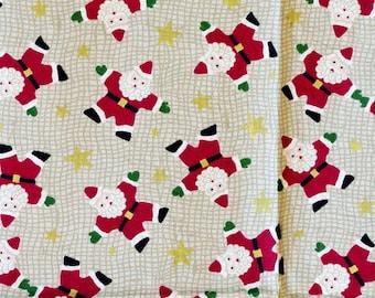 Quarter Yard, Quilting Cotton, Christmas Print Fabric, Folk Art Santa, Red, Tan and Brown, 44 x 12, B44