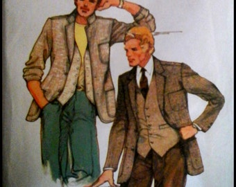 Butterick 6456  Men's Jacket And Vest   Chest 40