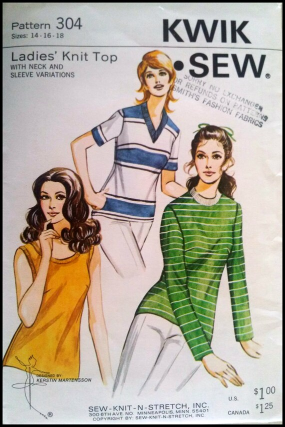 304 Best Images About Tarot Art On Pinterest: Kwik Sew Pattern 304 Ladies' Knit Top Sizes By ThePatternShopp