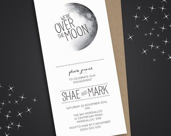 Engagement Party Invitation, Engagement Party Invite, Engagement Dinner, DIY Printable, Over the moon