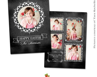INSTANT DOWNLOAD - Easter Photoshop Card Template - CA194