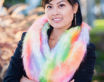 "46"" x 7"" Luxury Faux Fur Scarf Shawl Stole/ Rainbow Fur Wrap Wedding Scarfs/ Custom Made/ High Quality/ New Fashion Scarves"