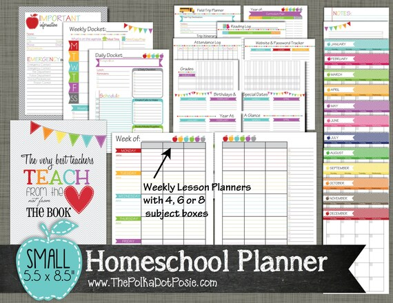 Homeschool planner printable set sized by polkadotposieprint for Home planner free