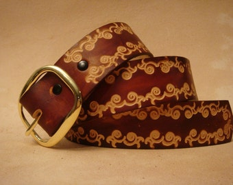 """Tooled Leather Belt - Custom Leather Belt - Personalized Leather Belt - Brown 1-1/2"""" NSS34 Pattern"""