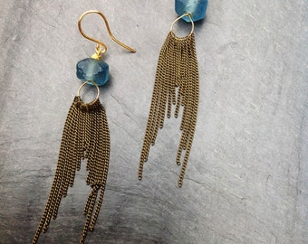 prussian blue glass cascading chain earrings with faceted gold beads - by Loop Jewelry - Blue Sea Glass- Boho Chic Earrings