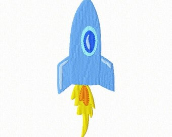 To the Moon and Beyond! - Cartoon ROCKET ~ Machine Embroidery Design in 2 sizes - Instant Download