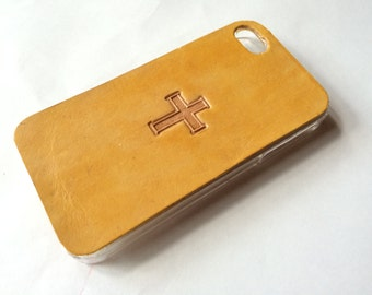 Leather iPhone 4s Case / Leather iPhone 4 Case - The Lodgepole Case - Inspirational Cross
