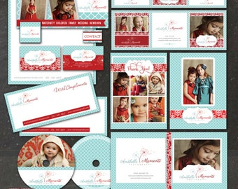 22 PIECE Marketing Set / Photography Marketing Set / Branding Templates, editable layered  PSD - Red & turquoise - instant download