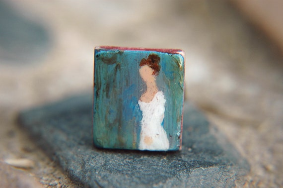 Jane Austen Inspired Ring Regency Literary Author Portrait Hand Painted Adjustable  - Miss Jane Austen