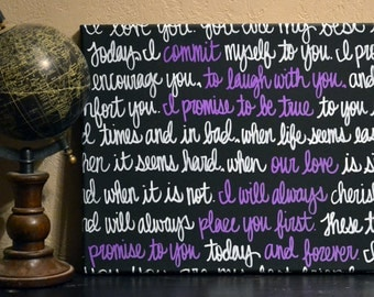 Wedding Vows Wall Art Painting Anniversary Gift Canvas Painting with Wedding Vows Song Lyrics Wedding Gift Home Decor Black White & Purple