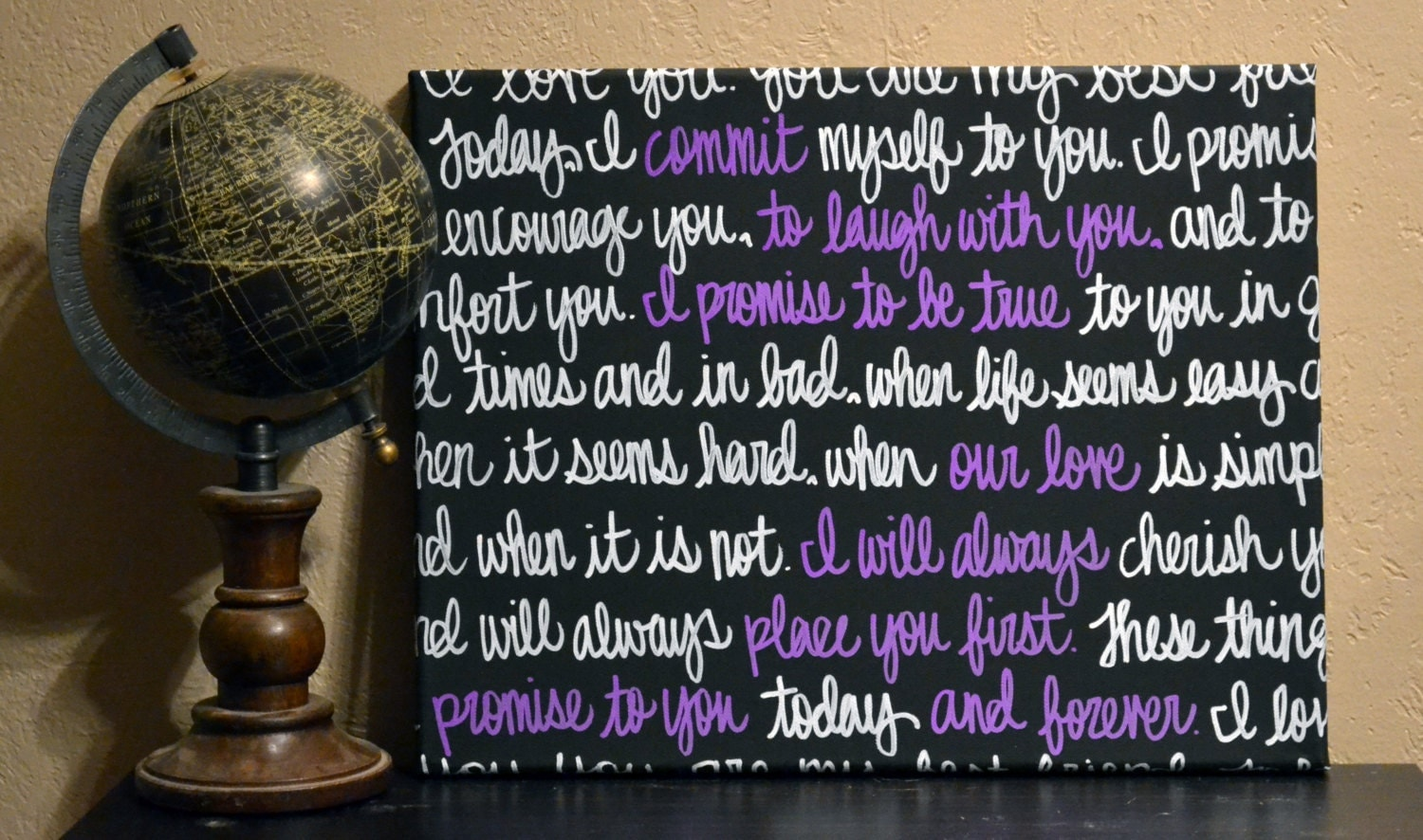 Wedding Vow Gifts: Wedding Vows Wall Art Painting Anniversary Gift Canvas