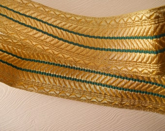 RIBBON TRIM:  Elegant gold and green ribbon, woven, 1 1/2 inch wide, church trim, 2 3/8 yards.
