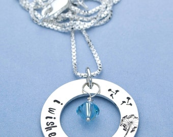 I Wished For You Hand Stamped Necklace, Mommy Jewelry, Mothers Necklace, First Time Mom, Baby Shower Gift, Pregnancy Gift
