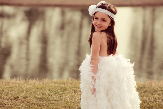 Feather Flower Girl Dress - A Beautiful Feather Dress In White or White & Ivory Mix - The Great Gatsby Dress