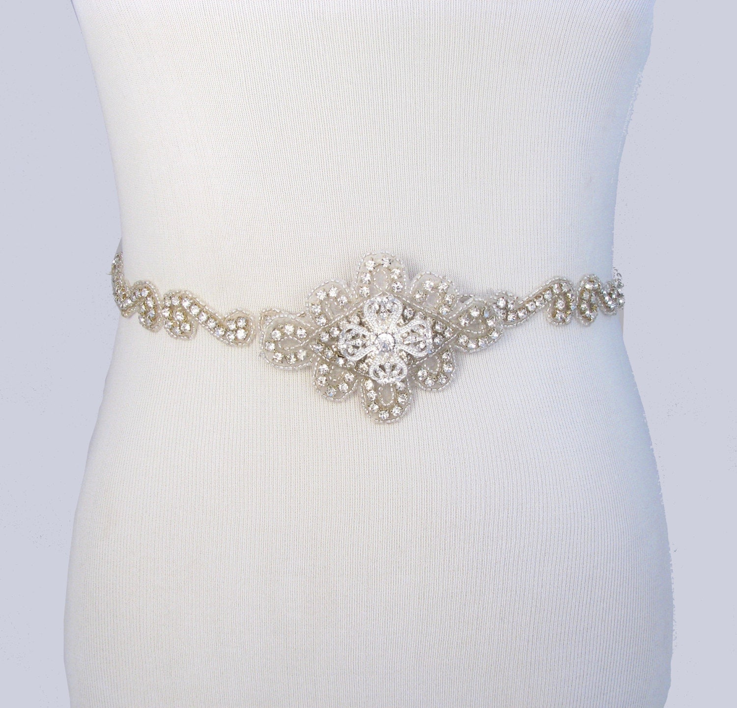 Wedding dress sash rhinestone bridal belt crystal bridal for Wedding dress belt sash