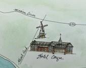 Made to Order - Custom Watercolor Illustrated Santa Ynez and Napa Wedding Map