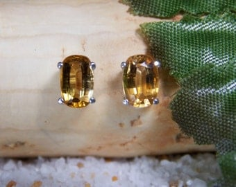 Golden Yellow Tourmaline Sterling Silver Earrings