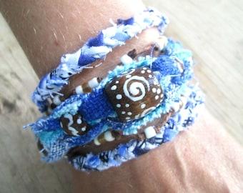 Upcycled Fiber Bangles - Bohemian Jewelry - Royal Blue Bracelets  - Stacking Bracelets - Tribal Bangles - Funky Jewelry
