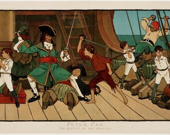 "John Hassall : ""Peter Pan - The Defeat of the Pirates"" (1907) - Giclee Fine Art Print"