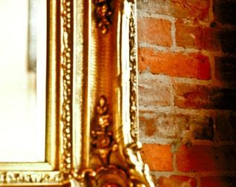 Fine Art Photography, ornate frame, corner detail, gold frame, red brick wall, Home Decor, Fine Art Print