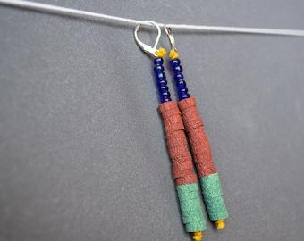 Hippie earrings Indie earrings Beaded earrings Beadwork earrings Mint Brown red Blue earrings Dangle earrings Spring Polymer clay earrings