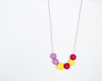 Minimalist necklace Beadwork necklace Geometric necklace Yellow Purple Cherry red Simple Metal free necklace necklace Polymer clay necklace