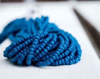 Deep Blue color Seed Beads (5 strands)