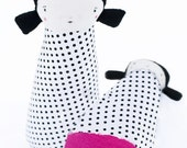 RESERVED FOR KELLY K. - Black & White Polka Dot Girl Plush Art Doll, Lucy