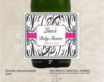 Zebra Print Party Decorations, Zebra Baby Shower, Bridal Shower Stickers, Graduation Label, Sweet 16 favors, Sweet Sixteen (Set of 24)(L663)