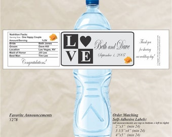 LOVE Blocks, water bottle labels, Rehearsal Dinner, Custom Water Bottle, Waterproof, Destination Wedding Welcome bag (Set of 20)(Y278/Y279)