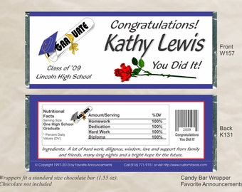 Graduation Favors, Graduation Party, Custom Candy Wrapper, Graduation Wrapper, Chocolate Wrappers, DIY Wrappers (Set of 12)(W157)