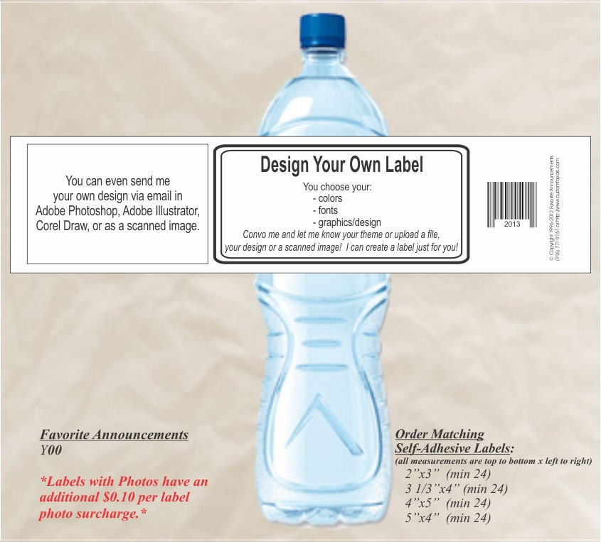 DIY Make Your Own Water Bottle Label Custom Water Bottle