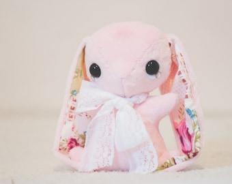 Pink Rabbit Plush - Cute Bunny Plushie - Handmade - Vintage Inspired