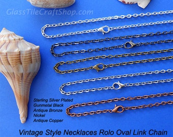 10 Chain Necklaces - 24 Inch, 3x4mm Links Oval, Silver, Antique Bronze, Antique Copper, Nickel, Gunmetal Black. (MIXRCN24)