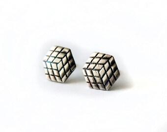 Rubiks Cube Silver Earrings - Sterling Silver Earrings - Post Earrings - Silver Earrings - PMC - Metal Clay