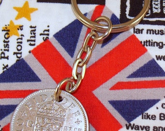 1953 Old English Shilling Coin Keyring Key Chain Fob Queen Elizabeth