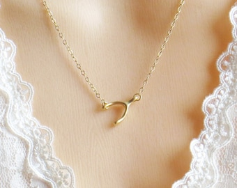 Wishbone Lariat Necklace, Lucky Wishbone Sideways Necklace, Best Friend Gift, Mother's Necklace