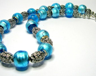 Turquoise Blue/Bali Bead Necklace - Handmade Necklaces - Chunky Necklace