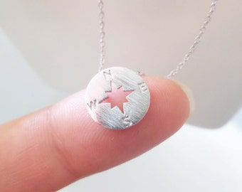 Tiny Silver circle disk necklace, compass necklace
