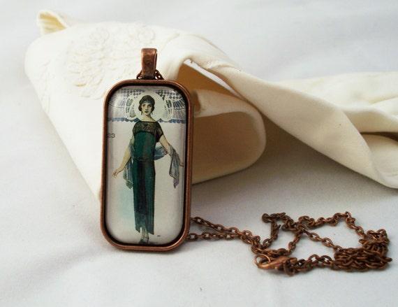 Roaring 20s Flapper Glass Pendant Necklace