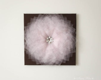 Home Decor 3D Flower Wall Art Pink and Brown Nursery Decor 12X12 Canvas Rhinestone Flower Art Cottage Chic Style Nursery Art Home Accent