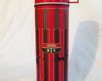 Vintage Red and Brown Thermos
