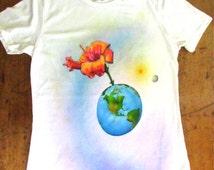 Flower Planet,Women's Medium  Airbrushed tshirt 100% cotton