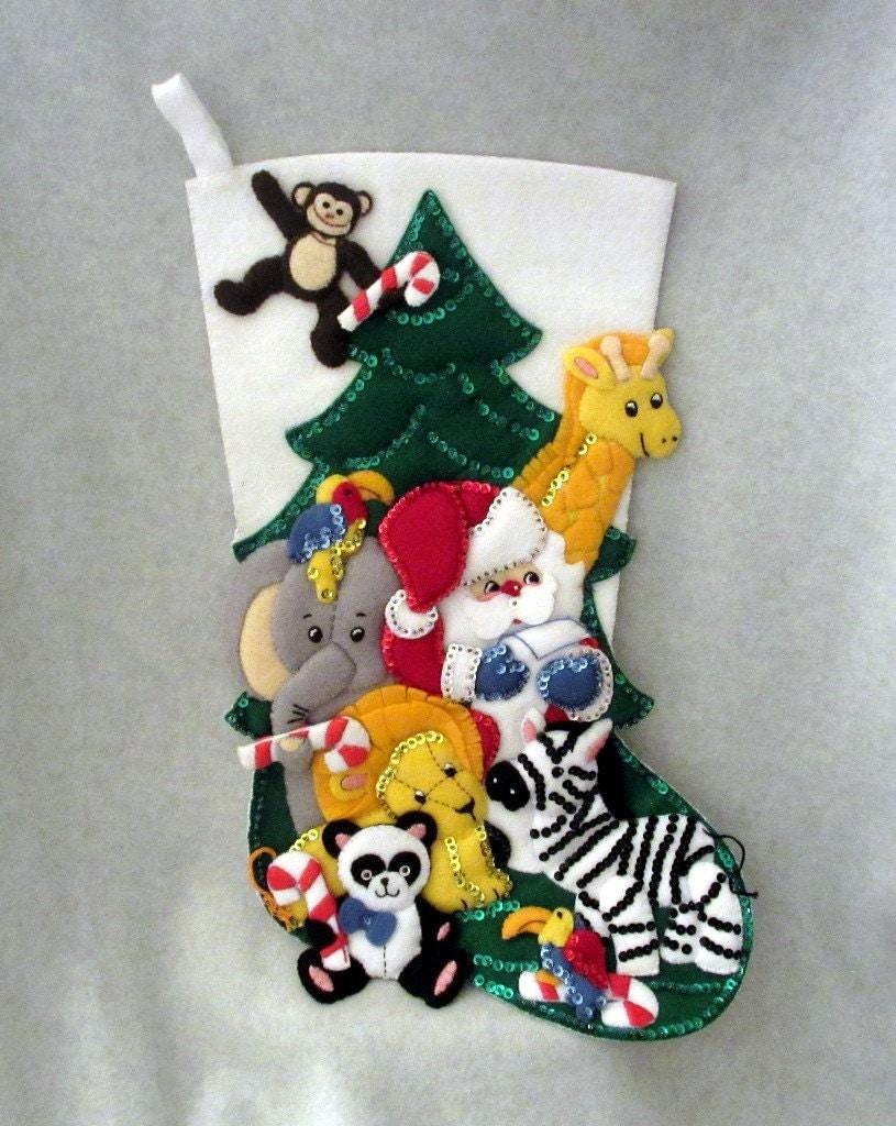 Vintage handmade christmas stocking embroidered felt appliqu for Custom made christmas stockings