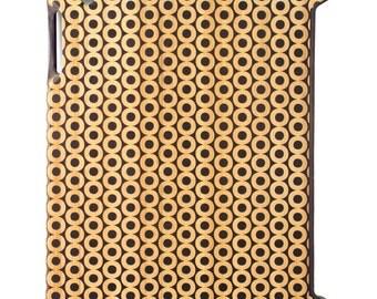 Charred Bamboo iPad 2,3,4 case, Geometric Circles design UK
