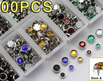 900 Pieces Mixed Size & 6 Color Bedazzler Preset Rhinestones Refill Kit for DIY Projects