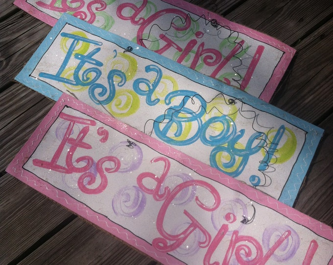 Hand Painted Birth Announcement Signs | Is's A Boy or It's A Girl